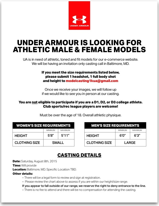 Model Monday – UNDER ARMOUR is looking for Athletic Male & Female Models